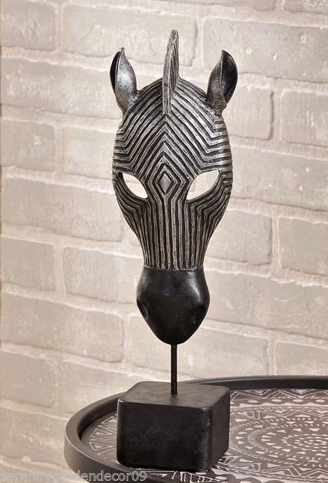 "15"" Zebra Mask Design Table Decor Silver & Black Coloring Polyresin NEW"