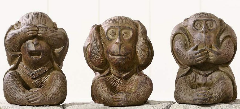 Set of 3 Monkey Statues Hear, See, Speak No Evil Garden Statue Figurines NEW