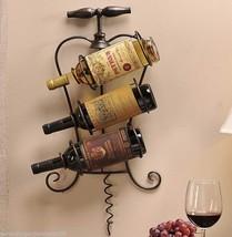 """24"""" Black Iron Sculpted Corkscrew Design Wine Bottle Holder with Vintage Label"""