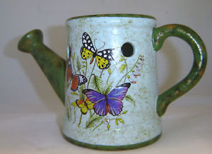 Butterfly Garden Watering Can Tart Burner Ceramic  NEW