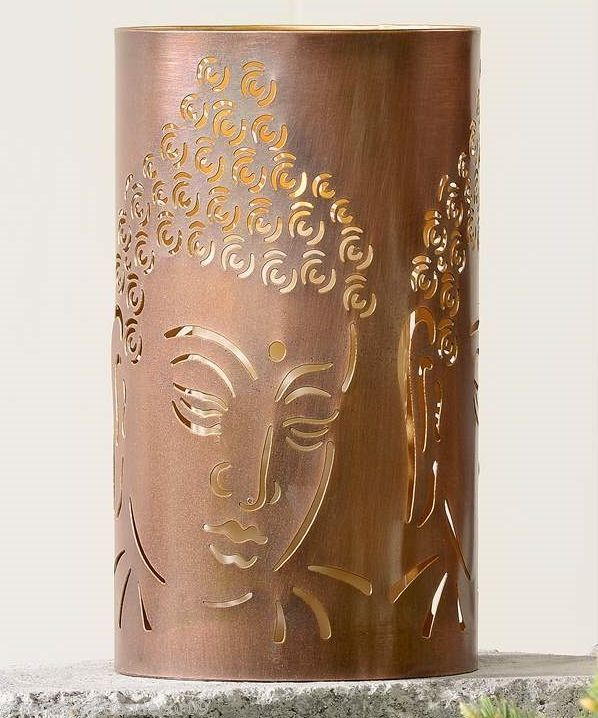 "7.8"" Antiqued Copper Cut-Out Iron Buddha Design Tealight Candle Holder"