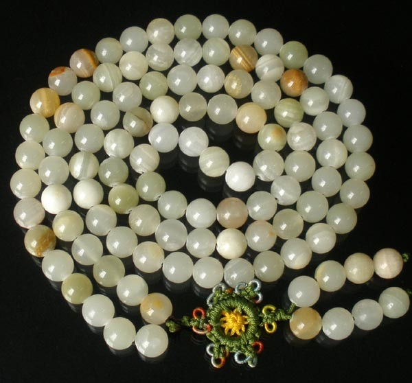 Free Shipping - 47 Inch  Tibetan buddhist Natural White agate 108 meditation yog