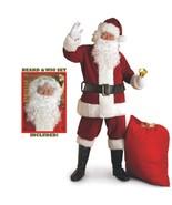 Christmas - Santa Claus Suit - Crimson Regal Plush + Beard & Wig Set - S... - $55.32