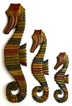 "Nautical Set of 3 Seahorses Wooden Wall Art Decor 31"" Tall - $79.14"