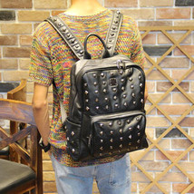 Mens Punk Rivet Black Leather Business backpack Boy's rucksack laptop sc... - $33.56