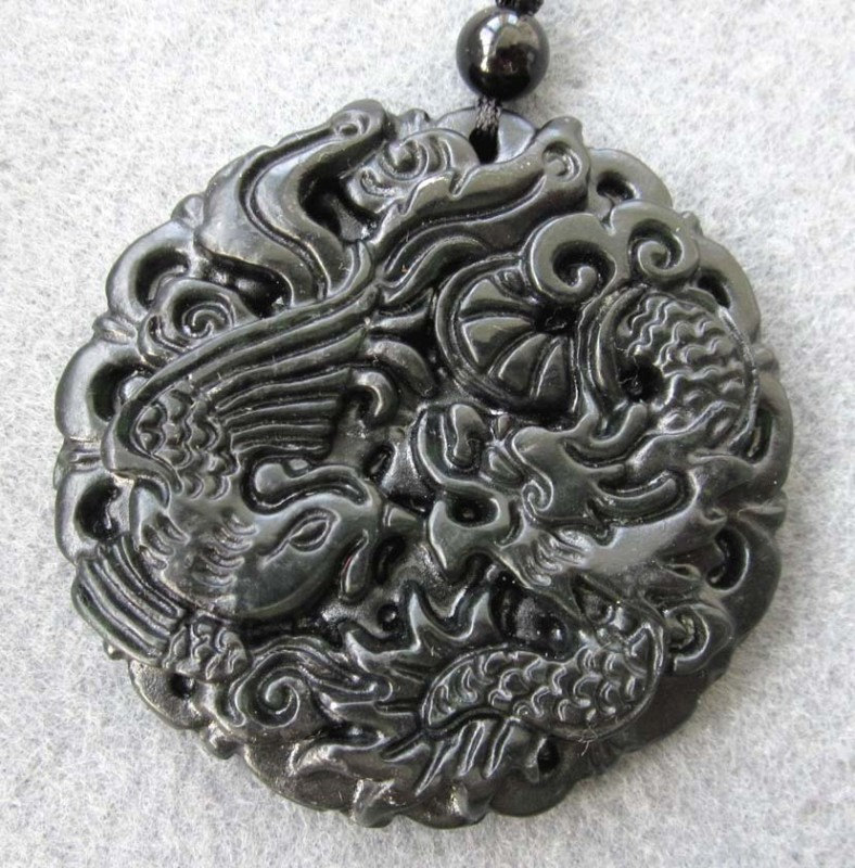 Free Shipping - good luck Amulet  Natural dark Green jade carved  dragon Phoenix