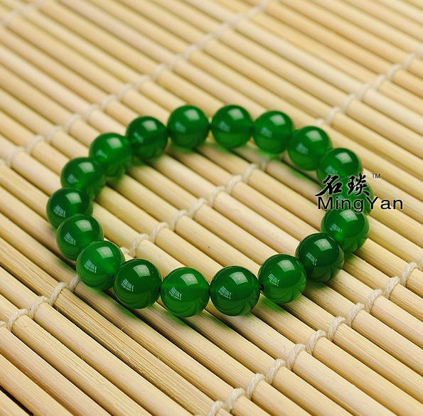 Free Shipping -  perfect 100% natural green agate Prayer Beads charm bracelet