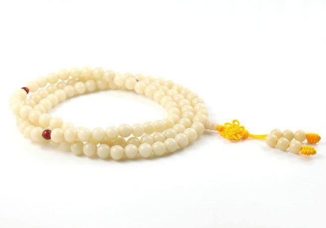 Free Shipping - Tibetan Buddhist natural white Bodhi / white Jadeite Jade  108 b