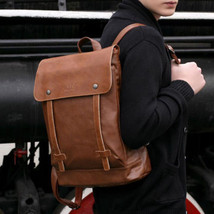 Men Business Leather  Backpack Messenger Bags Vintage Briefcase Laptop S... - $24.98
