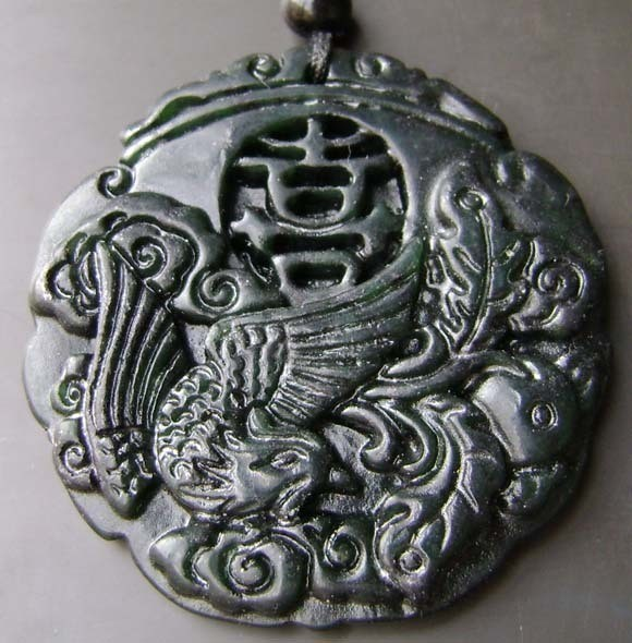 Free Shipping - Good luck Amulet  Natural dark Green Jade carved  Phoenix  Round