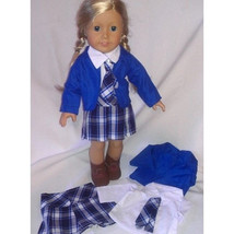 Adorable 4 piece blue plaid outfit for American... - $19.75