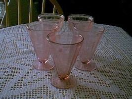 "Jeannette Glass Pink Floral Poinsettia  4 1/2"" Footed Tumbler - $14.85"
