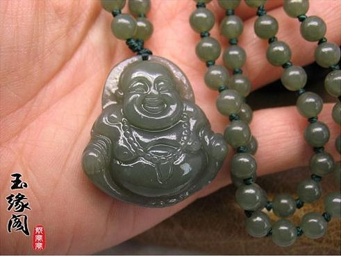 Free Shipping - Tibetan Buddhism , perfect AAA Grade Natural dark Green Jadeite