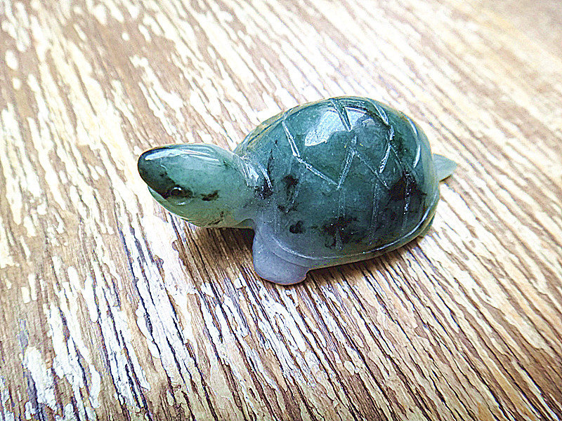 Hand carved good luck Amulet Natural dark green jade carved sea