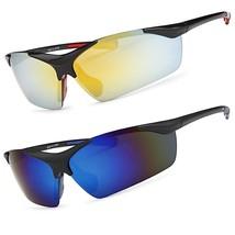 Mens Mirrored Lens Rimless Frame Wrap Around Sport Cycling Baseball Sunglasses - $6.99+