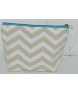 Ganz Brand ER39002 Chevron Design Beige Tan Teal Zipper Makeup Bag - $8.99