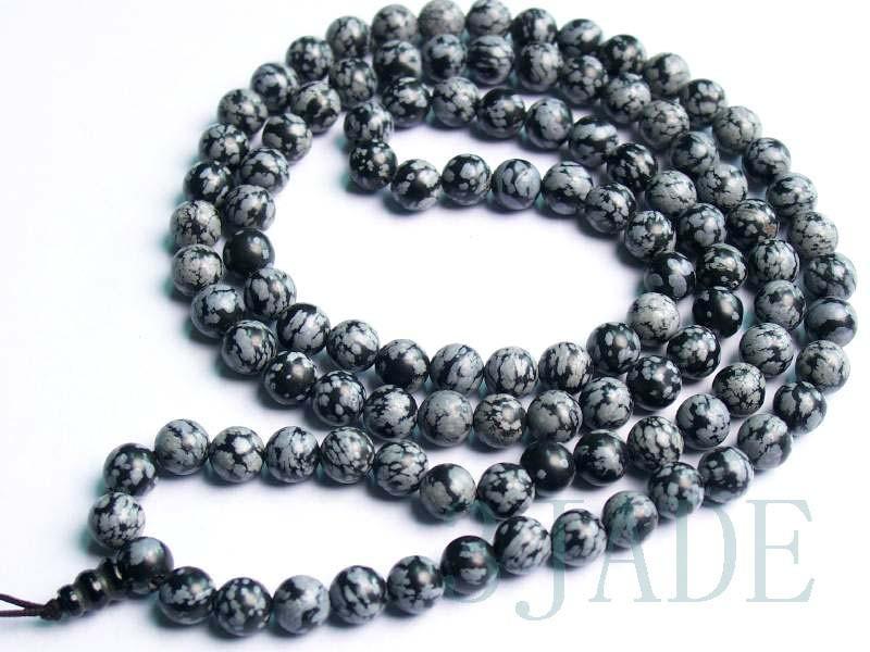 Free shipping - Tibetan Natural Snowflake Obsidian Meditation Yoga 108 Prayer Be