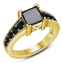 18k Yellow Gold Plated 925 Silver Princess Cut Black CZ Engagement Weddi... - ₨5,359.35 INR