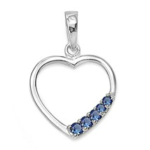 Sterling Silver Delicate Simple Blue Sapphire Heart pendant New Love d89 - $8.69