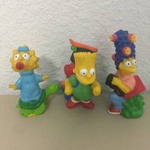 Lot Of 3 Simpsons Camping Plastic Figurines Vintage 1990 Bart Marge Magg... - $12.16