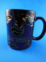Sea World Souvenir Collectible Mug LINYI Blue Black Gold metallic VERY P... - $5.53