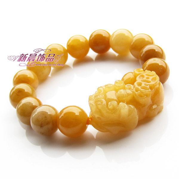 Free Shipping - 100% Natural yellow jade  Meditation yoga Prayer Beads charm bra