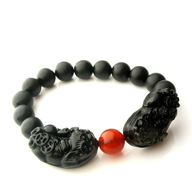 Free Shipping - good luck Hand carved natural black agate / natural Red agate ''