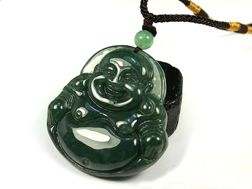 Free Shipping - good luck Natural Oily Green Laughing Buddha  Jadeite Jade charm