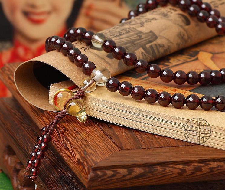 Free Shipping -  good luck natural Red Garnet meditation yoga 108 Beads Prayer B