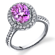 Women's Sterling Silver Pink Sapphire Oval Halo Ring with Milgrain Finish - $124.92 CAD