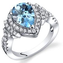 Women's Sterling Silver Pear Shape Blue Topaz Halo Ring - $124.92 CAD