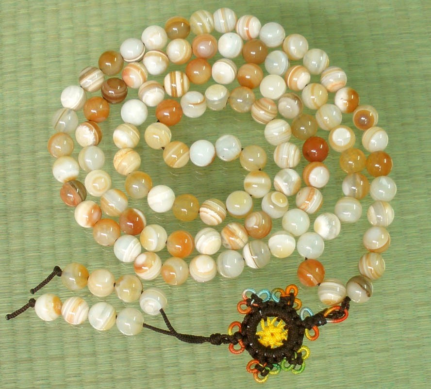 Free Shipping -Tibetan Buddhist 37'' Natural white agate / Natural  yellow agate