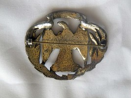 Vintage Waterloo War Eagle brass or pewter pin brooch has eagle in center  image 3