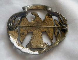 Vintage Waterloo War Eagle brass or pewter pin brooch has eagle in center  image 4