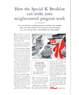 1962 Kellogg print ad with Weight-Control Menu - $10.00