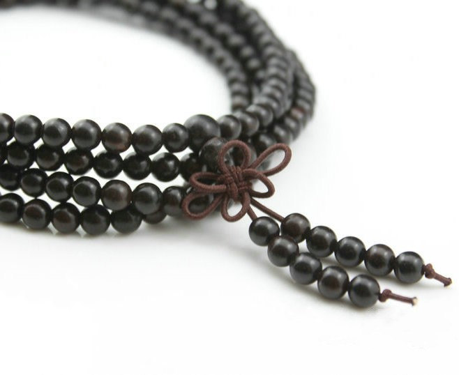 Free Shipping -  7mm 100% natural black sandalwood  meditation yoga 216  Beads P