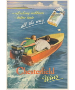 1937 Chesterfield Cigarettes Motor Speed Boat print ad - $10.00