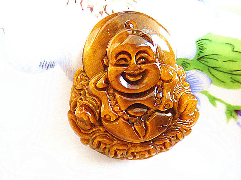 Free shipping - Hand carved Good Luck  Natural yellow tiger eye carved Laughing