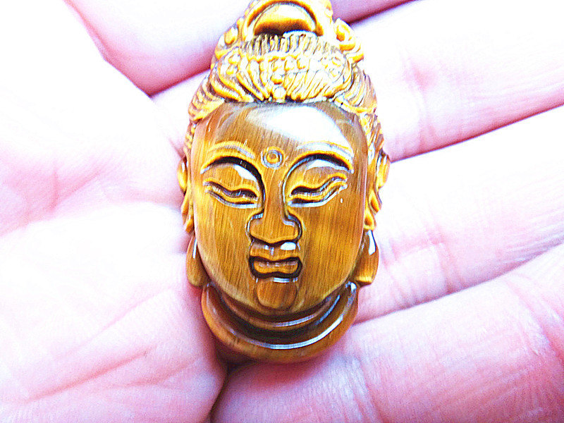 Free shipping - Hand carved Good Luck  natural yellow tiger eye carved Buddhist