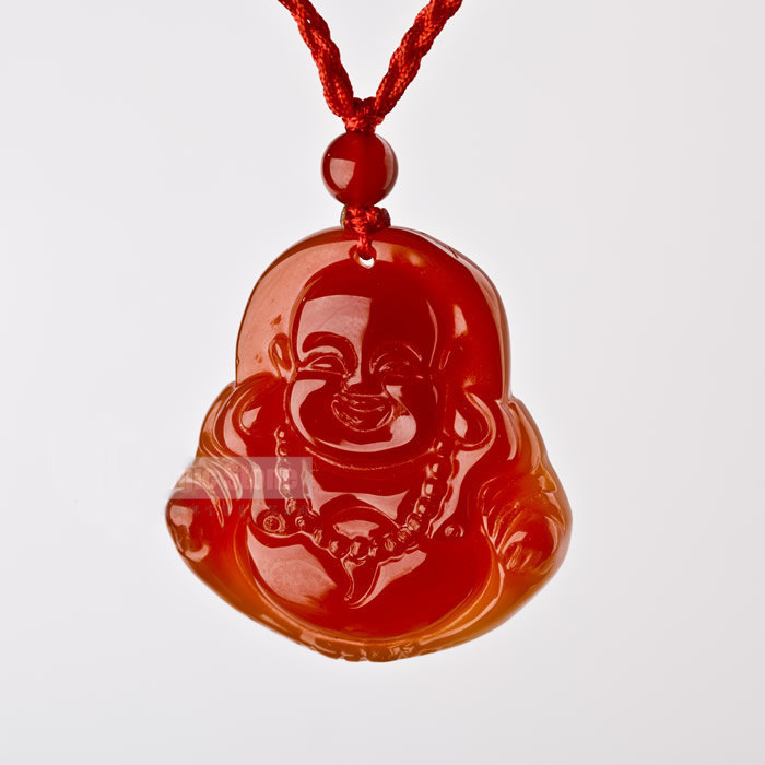 Free Shipping - good luck Amulet Hand carved Natural Red jade Laughing Buddha Ja