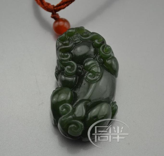 AAA Natural Green Jadeite Jade carved Pi Yao charm Pendant / nec