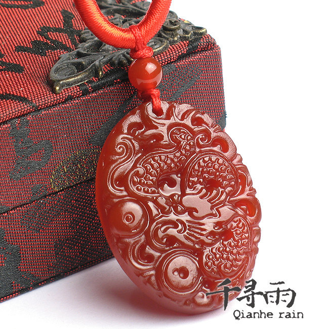 Free Shipping - good luck Natural Red agate / Carnelian Carved Dragon   Pendant