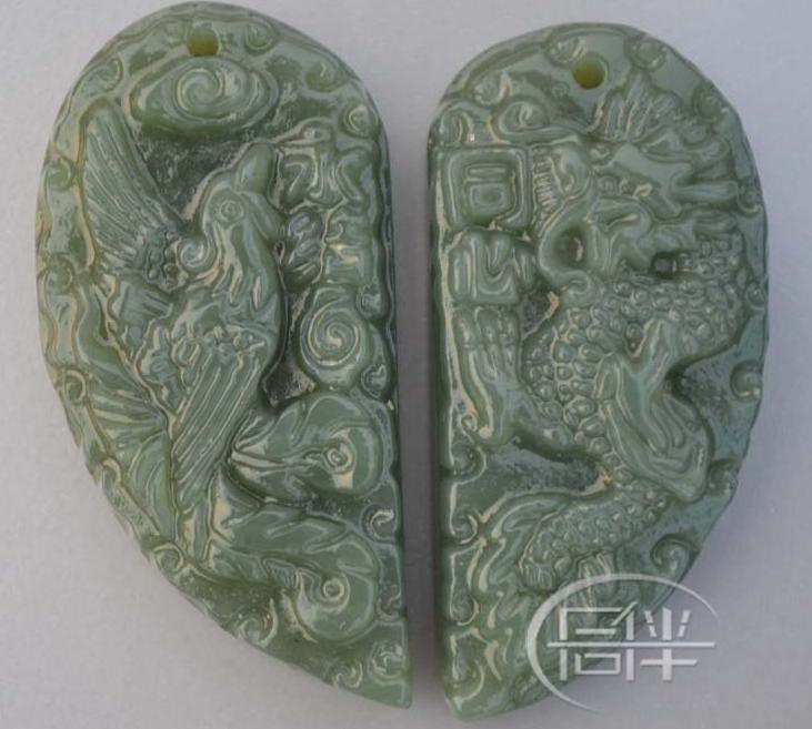 Free Shipping -  Natural Green jade carved  dragon Phoenix  Round Shape Jade Pen
