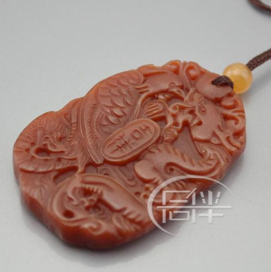 Free Shipping - good luck Natural Red agate / Carnelian Carved Dragon Phoenix  P