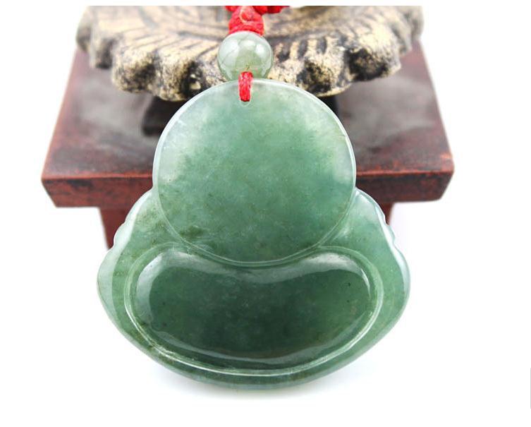 Free Shipping -perfect Natural dark Green jade Laughing Buddha Jadeite Jade char