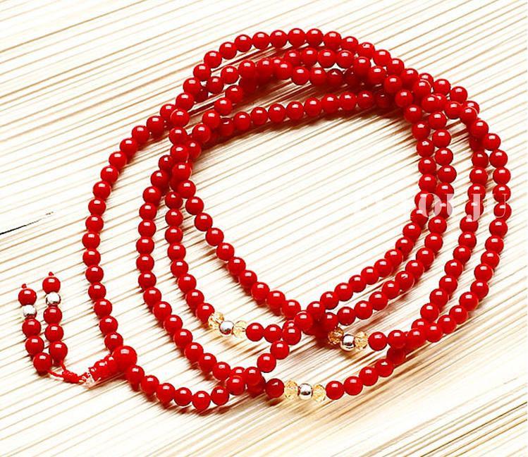 Free Shipping - Natural Red Coral  Meditation  Yoga 216 Prayer Beads Mala Neckla