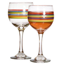 Mambo Fiesta Striped Wine Glasses Goblets, 10 Oz. - $20.99