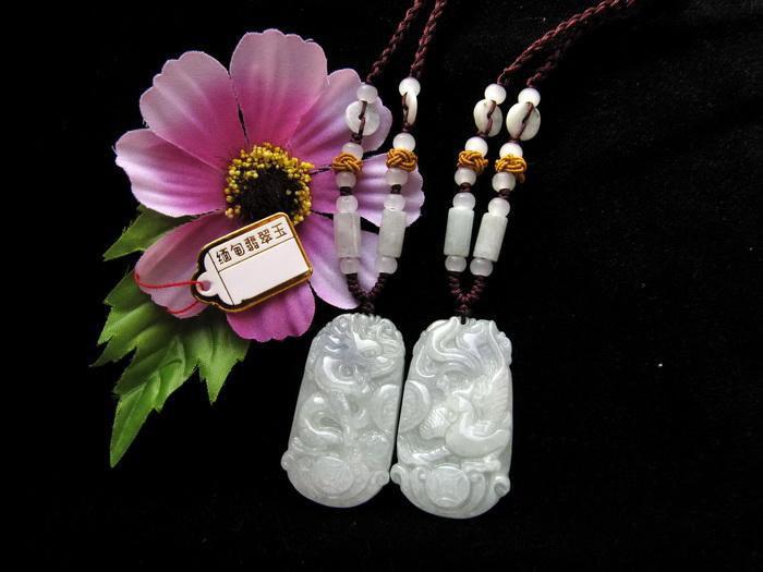 Free Shipping - Hand carved Amulet  Myanmar jadeite Natural white Jadeite Jade c