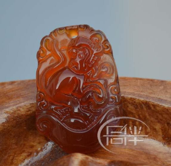 FREE shipping - good luck Amulet Natural red agate / Carnelian carved  Monkey ch