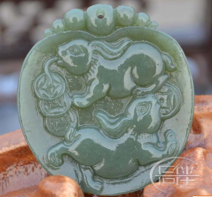 Free Shipping -  100% Natural dark green jadeite jade carved Rabbit Pendant / ne